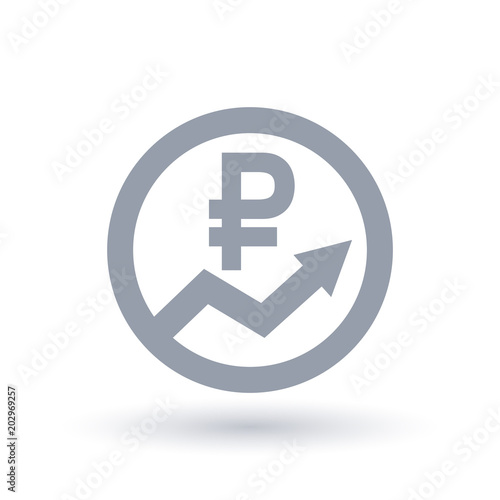 Russian Ruble Arrow Icon Russia Currency Progress Symbol Buy
