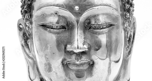 Black and White buddha head statue , isolated on white background