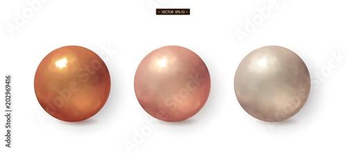 Fotografie, Tablou 3d bronze, brass, copper, silver balls Set of realistic elements for design Vect