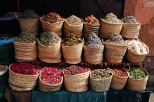 Street Moroccan Stall With Dried Herbs