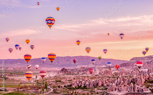 Poster de jardin Montgolfière / Dirigeable Colorful hot air balloons flying over rock landscape at Cappadocia Turkey