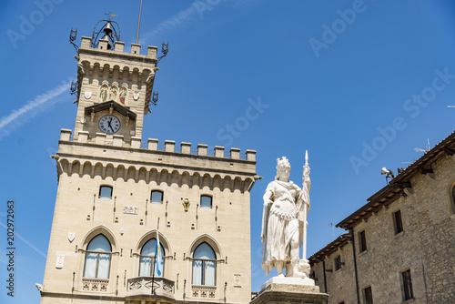 San Marino Public Palace and statue of Liberty