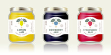 Three Labels Fruit Jam. Lemon, Dewberry, Strawberry Jam Labels And Packages. Premium Design. The Flat Original Illustrations And Texts On The Minimalist Labels On The Jar With Caps.