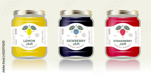 Three labels fruit jam Canvas-taulu