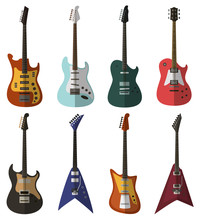 Set Of Bright Electric Guitars