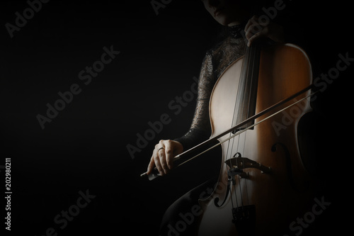 Fotoposter Muziek Cello player. Cellist hands playing cello closeup
