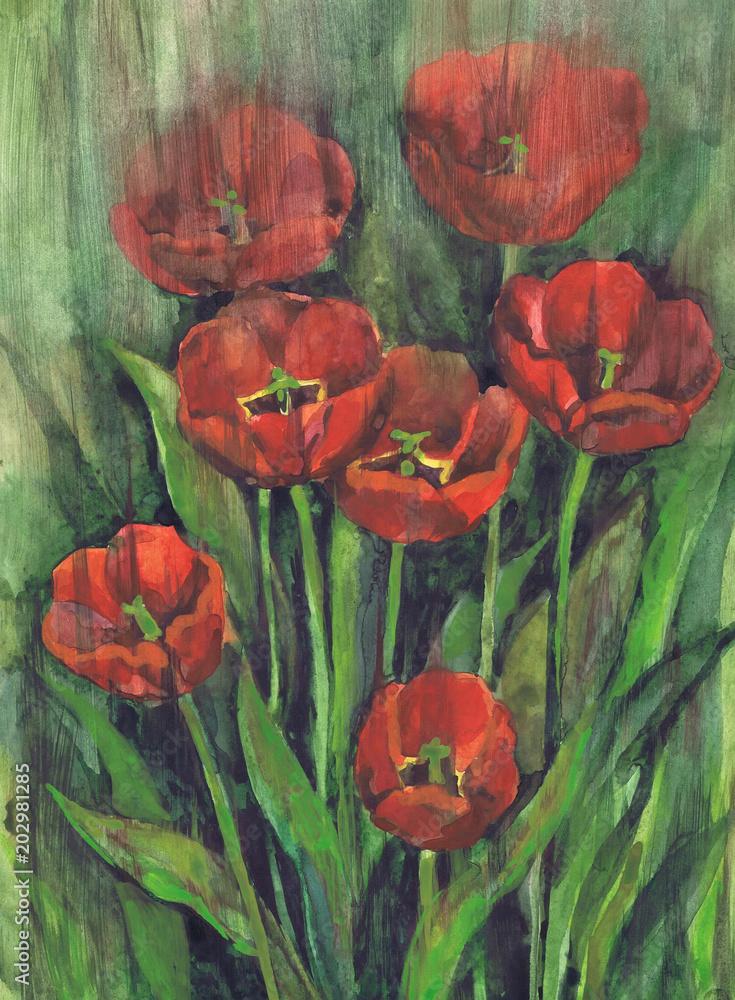 """Rysunek """"Kwitnące tulipany"""". Papier, akwarela"""