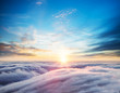 canvas print picture - Beautiful sunset sky above clouds
