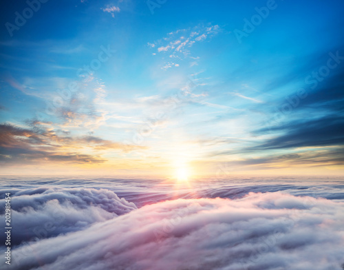 Fotografie, Obraz  Beautiful sunset sky above clouds