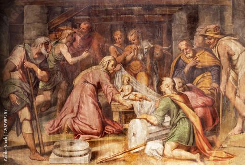 PARMA, ITALY - APRIL 16, 2018: The freso of Adoration of the Shepherds in church Chiesa di Santa Croce by Giovanni Maria Conti della Camera (1614 - 1670).