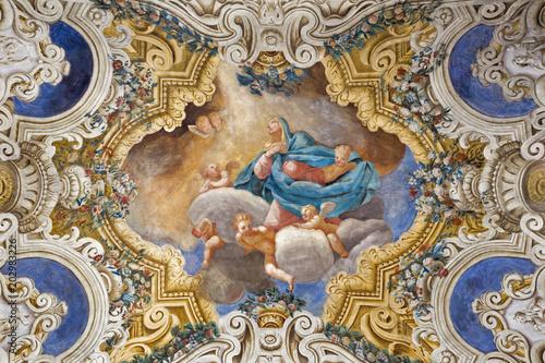 Valokuva  PARMA, ITALY - APRIL 16, 2018: The ceiling freso of The Asumption of Virgin Mary in church Chiesa di Santa Croce by Giovanni Maria Conti della Camera (1614 - 1670)