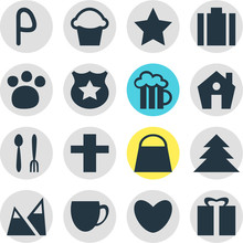 Vector Illustration Of 16 Travel Icons. Editable Set Of Love, Star, Portfolio And Other Icon Elements.