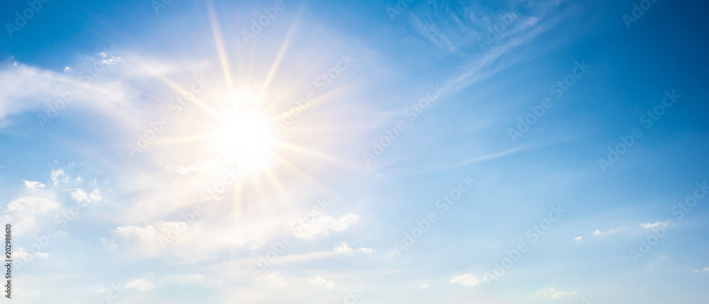 Fototapety, obrazy: Sunny background, blue sky with white clouds and sun