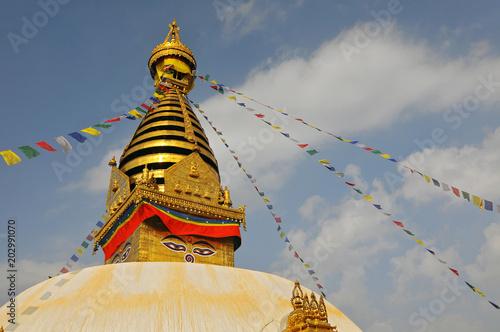 Swayambhunath Stupa with the prayer flags (monkey temple) in Kathmandu, Nepal Fototapet