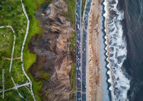 Fotobehang Zuid-Amerika land Drone photo of Costa Verde highway near beach in Lima