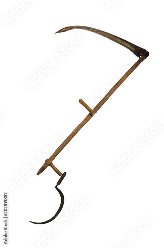 Leinwand Poster Vintage scythe and sickle isolated on white