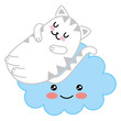 kawaii cute kitti sleeping in cloud cartoon vector illustration