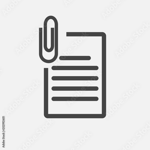 Photo Vector document icon and paper clip. Business  document  icon.