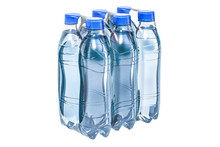 Water Bottles Wrapped In The Shrink Film, 3D Rendering