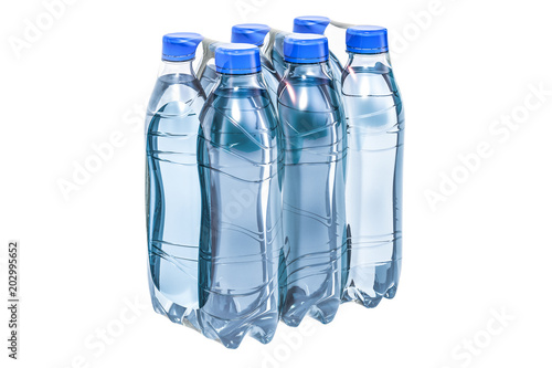 Water bottles wrapped in the shrink film, 3D rendering Canvas-taulu