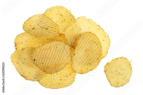 Fotografía  potato chips isolated on white background close-up