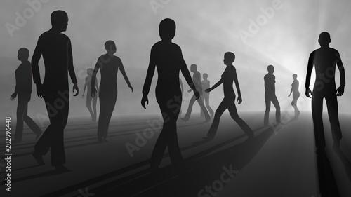 People walking in fog. 3d render Canvas Print