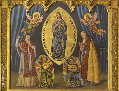 ZARAGOZA, SPAIN - MARCH 1, 2018: The painting of Immaculate conception and pope Pius X and Pius XII in church Iglesia del Perpetuo Socorro by pater Jesus Faus (1953 - 1959).