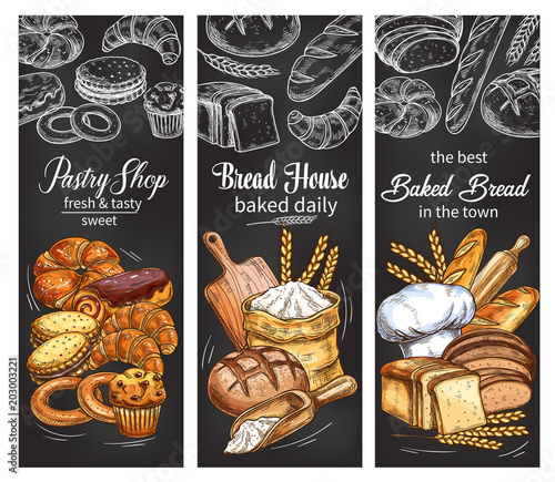 Obraz na plátně Bakery and pastry shop banner with bread and bun