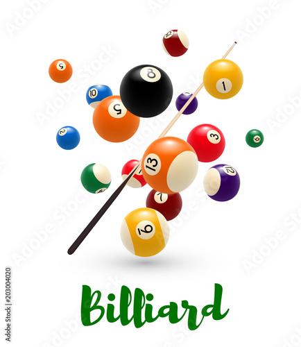 Fotografía Billiard pool ball, cue poster for snooker design