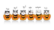 Vector Illustration Design Banner Background Cute Cat For Halloween Day Draw Doodle Cartoon Style