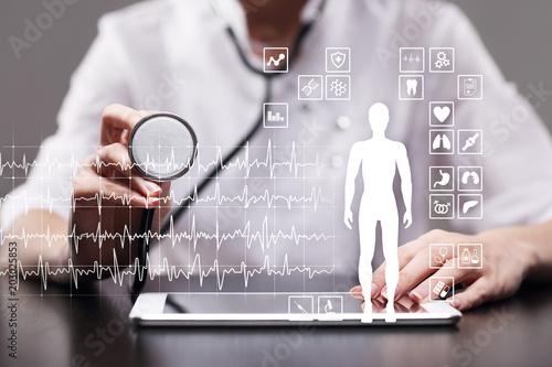 Medical record diagram on virtual screen concept. Health monitoring application.