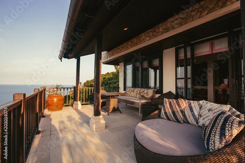 Tropical luxury villa interior outdoor,  sea view veranda Fototapet