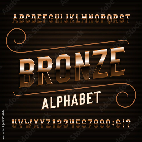 Bronze alphabet font Fototapeta