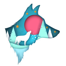 Dog, Wolf Illustration. Cartoon Paper Landscape Vector Eps 10