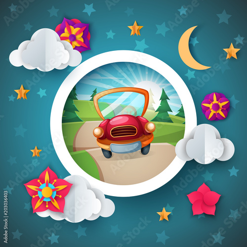 Staande foto Cartoon cars Cartoon landscape. Car illustration. Flower, cloud moon star Vector eps 10