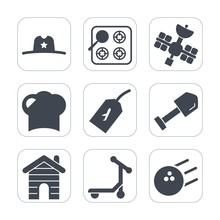 Premium Fill Icons Set On White Background . Such As Satellite, Hat, Construction, Food, Country, West, Hot, Sport, Restaurant, Shovel, Pin, Ball, Sign, House, Stove, Real, Business, Appliance, Chef