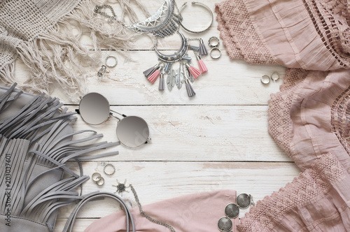 Photo  Boho style clothes and accessory
