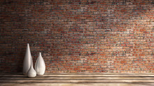 3d Rendering Illustration Of Big Modern Room With Old Red Brick Wall And Set Of White Vases On Wooden Parquet Floor. Loft Interior With Bright Sunlight. Studio, Showroom, Photostudio, Stage, Basement.