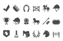Silhouettes Of Equestrian Spor...