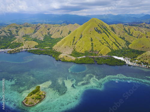 Poster Luchtfoto Beautiful aerial view of Gili Laba island, Flores, Indonesia.
