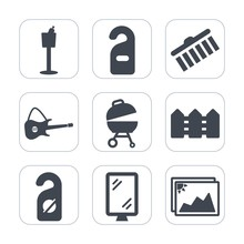 Premium Fill Icons Set On White Background . Such As Privacy, Photo, Meat, Grill, Restaurant, Stroke, Frame, Street, Rock, Collection, Barbecue, Guitar, Red, Fence, Alcohol, Drink, Stain, Room, Hotel
