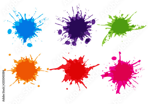 vector colorful paint splatter.Paint splashe set.Vector illustration design.