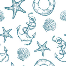 Marine Seamless Pattern With S...