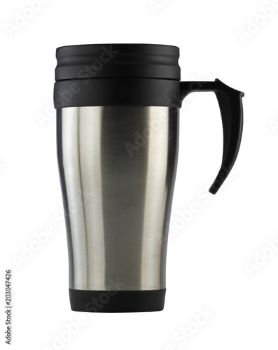 Mug of aluminum and have black handle isolated on white background.