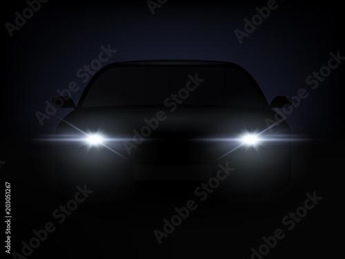 Fototapeta Realistic Car Lights Effect from Darkness Background. Vector obraz na płótnie