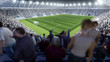 Volles Fußball Stadion mit Zuschauern auf Tribüne