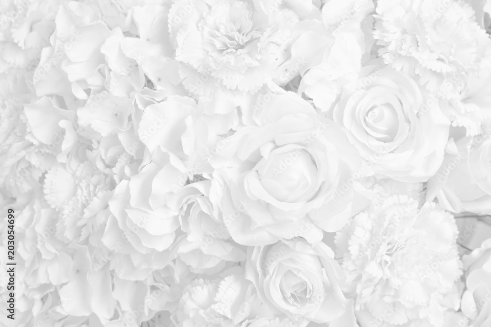 Fototapety, obrazy: Beautiful decoration artificial rose flower in white tone background.