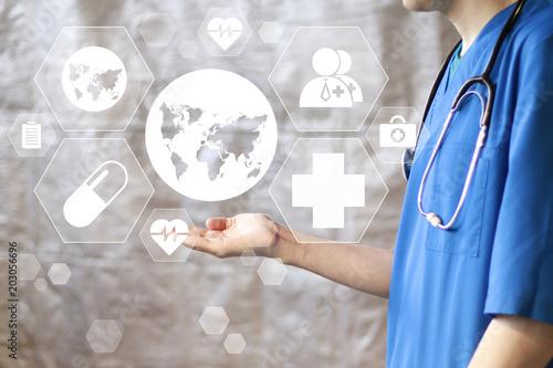 Fotografie, Obraz  Doctor pressing button map healthcare on virtual panel medicine