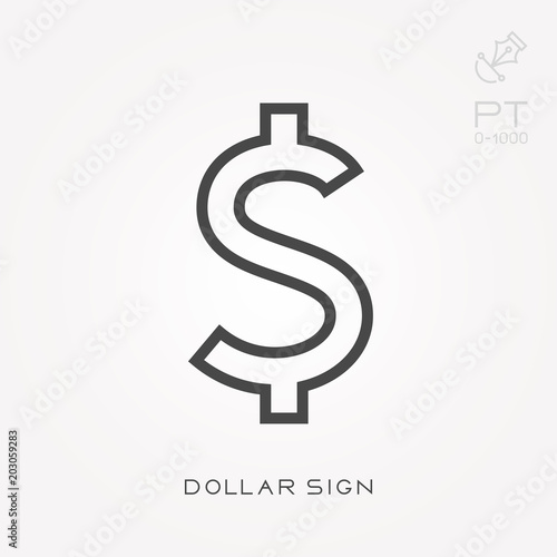 Fotografía  Line icon dollar sign
