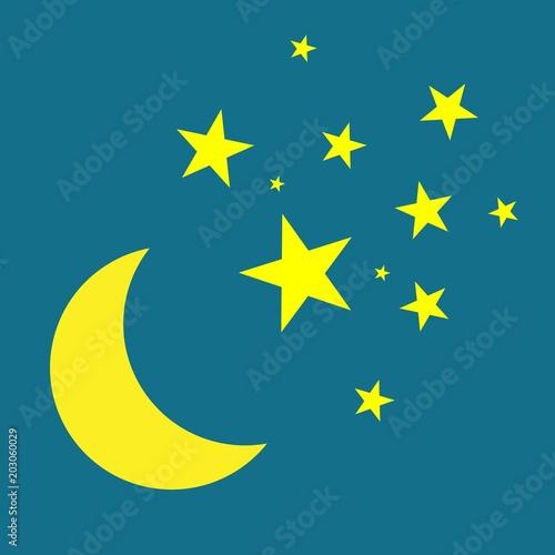 Tuinposter Hemel Moon and stars Vector icon. Yellow stars on a blue night sky